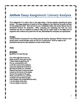 Anthem by Ayn Rand:  an essay assignment