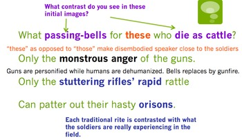 """""""Anthem for Doomed Youth"""" by Wilfred Owen Powerpoint and Quiz"""