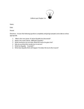 Anthem quiz chapter 3-6