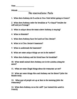 Anthony Bourdain No reservations Paris French class food q