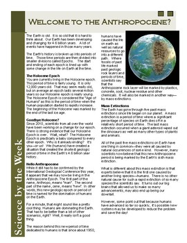 Anthropocene - Our New Geologic Time Scale:  Leveled Informational Text
