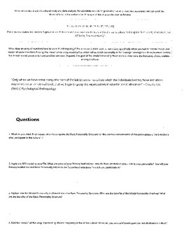 Anthropology Personality Structure Worksheet