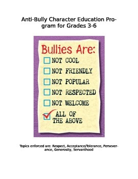 Anti-Bully Character Education Activities