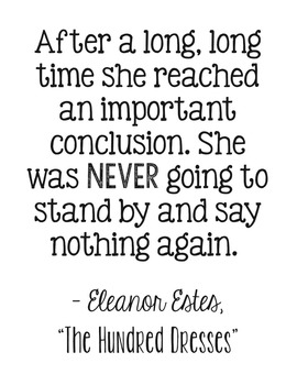 FREEBIE! The Hundred Dresses by Eleanor Estes Encouragement Quote Poster