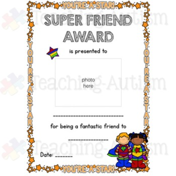 Anti-Bullying, Friendship Certificates