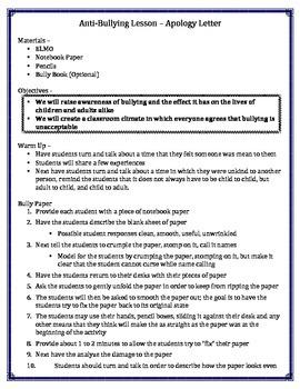 Anti-Bullying Letter Lesson