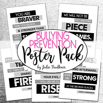 Anti-Bullying, Literary Inspired Motivational Quotes Posters Set, FREEBIE
