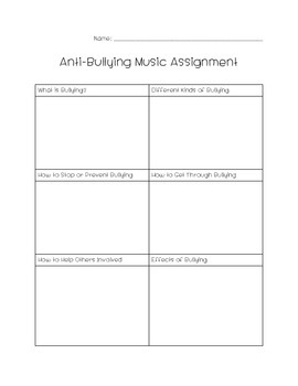 Anti-Bullying Music Assignment {Full Assignment Included}