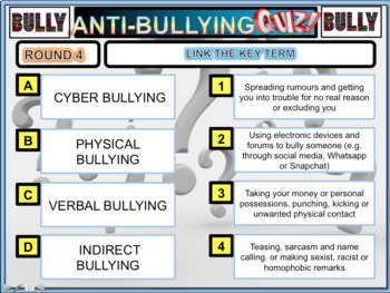 Anti Bullying Quiz  and Worksheets
