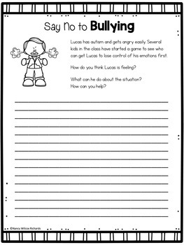 Anti-Bullying Writing Activities with Discussion Cards