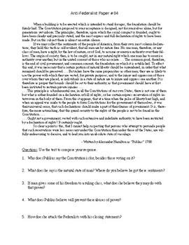 DBQ: Anti-Federalist Paper #84