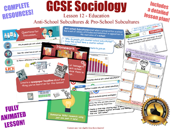 Anti-School Subcultures - Sociology of Education (GCSE Sociology L12/20)