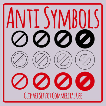 Anti Symbols - Rules Icons Clip Art Set for Commercial Use