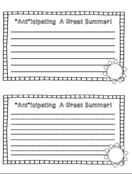 """Ant""icipating a Great Summer! (A Summer Writing Craftivity)"
