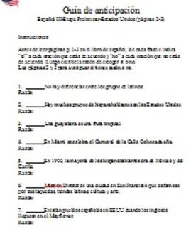 Anticipation Guide-En Espanol 3 p. 2-3 United States