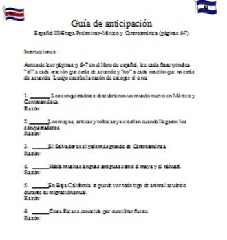 Anticipation Guide-En Espanol 3 p. 6-7 Mexico Y Centroamerica