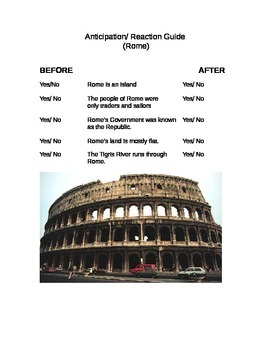 Anticipation Guide For Ancient Rome