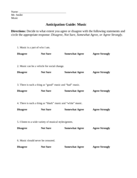 Anticipation Guide - Music
