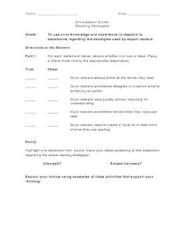 Anticipation Guide - Reading Strategies Bundle