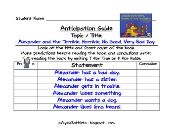Anticipation Guide Sheet and Examples