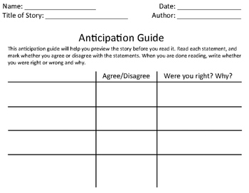 "Anticipation Guide Template and ""The Boy Who Invented TV"" Example"