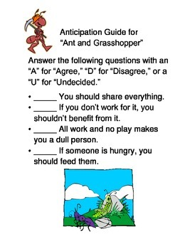 """Anticipation Guide--""""The Ant and the Grasshopper"""""""