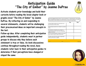 "Anticipation Guide: ""The City of Ember"" by Jeanne DuPrau"