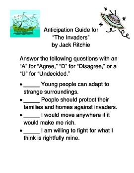 """Anticipation Guide--""""The Invaders"""" by Jack Ritchie"""