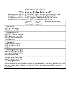 Anticipation Guide for Age of Enlightenment
