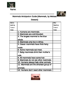 Anticipation Guide for Mammals by Melissa Stewart