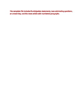 Anticipation Guide for Non Fiction Article about E Cigarettes, Fact vs Opinion