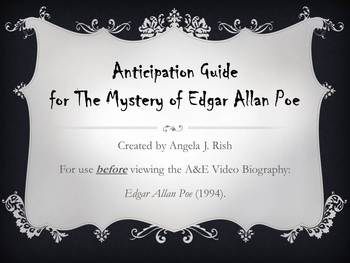 Anticipation Guide for A&E Biography: The Mystery of Edgar Allan Poe (1994)