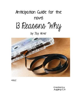 Anticipation Guide for the novel Thirteen Reasons Why by Jay Asher
