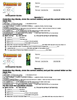 Anticipation Guide_Density Weather & Water Unit