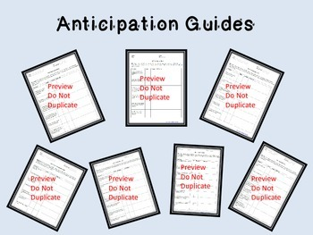 Anticipation Guides For Texts in Code X 8th Grade