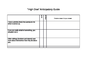 Anticipatory Guide--The High Dive
