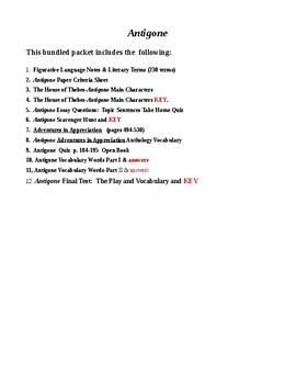 Antigone Bundle Tests/Quizzes/Scav Hnts/Writing Assign&KEYS