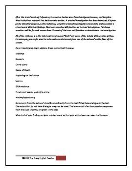 Antigone: CSI Classroom Investigation and Murder Board