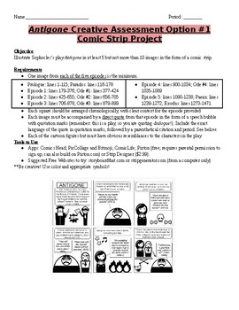 Antigone- Comic Strip and Digital Story Project Guidelines and Grading Rubrics