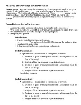 Antigone Essay Handout  Directions By The Grateful Classroom  Tpt Antigone Essay Handout  Directions