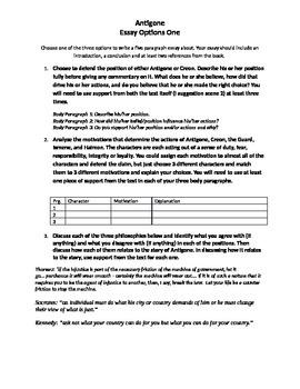 Antigone Essay Options 1