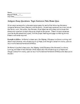 Persuasive Essay Papers Antigone Essay Starters Topic Sentences Take Home Quiz Model English Essays also Buy Essay Papers Antigone Essay Starters Topic Sentences Take Home Quiz  Tpt Yellow Wallpaper Essay
