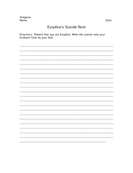 Antigone Eurydice's Suicide Note Writing Assignement