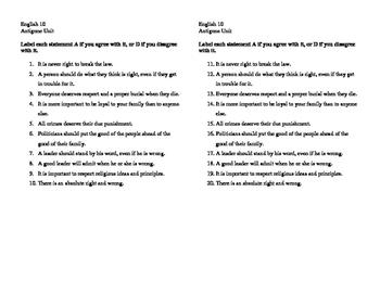 Antigone Intro Survey