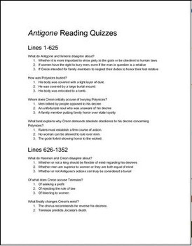 Antigone Reading Quizzes
