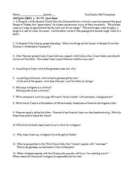 Antigone Short Answer reading guide and KEY Paul Roche p184-195