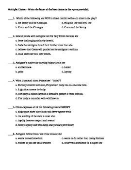 Antigone TEST / Unit Exam with Answer Key