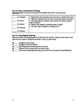 Antigone Test and Answer Key