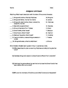Antigone Unit Exam