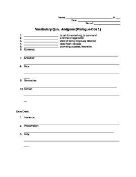 Antigone: Vocabulary Quiz